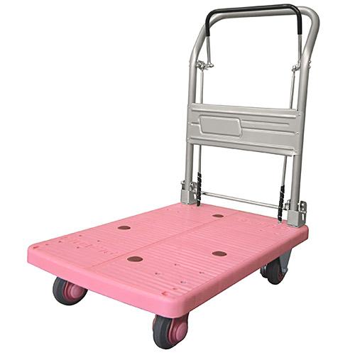ドラムブレーキ付き手押し台車 静音タイプ 150kg ピンク