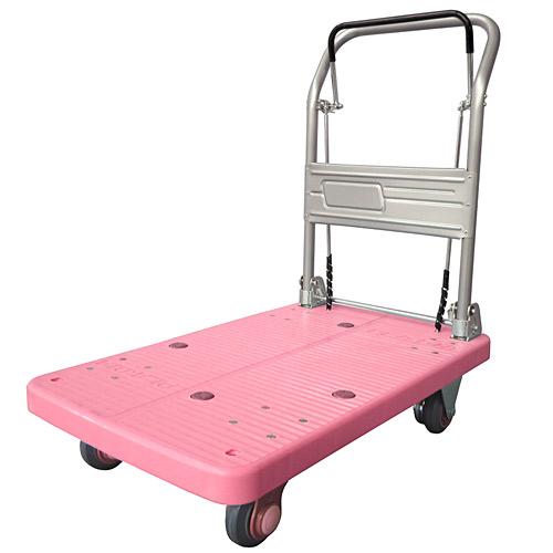 ドラムブレーキ付き手押し台車 静音タイプ 200kg ピンク
