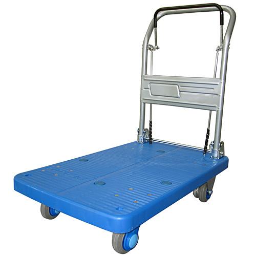 ドラムブレーキ付き手押し台車 静音タイプ 200kg ブルー